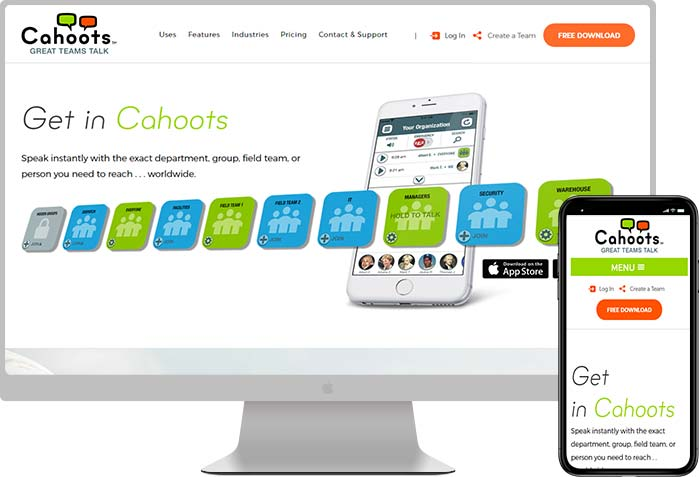 Cahoots website design