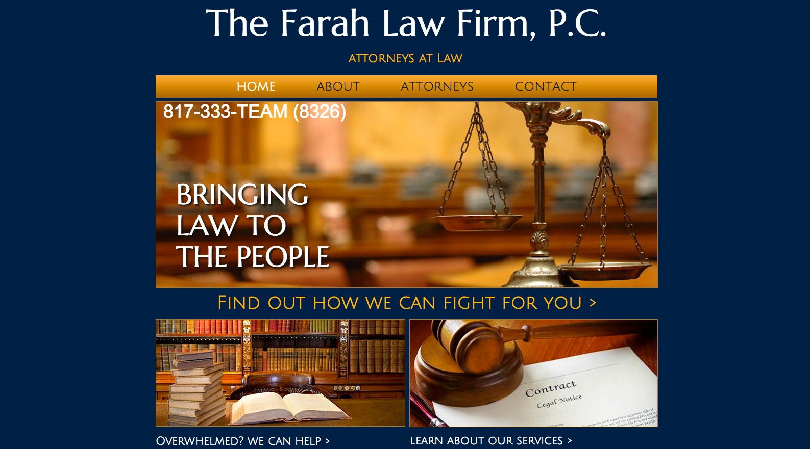 old website of The Farah Law Firm