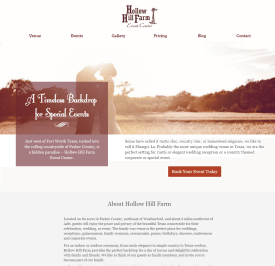 old website of Hollow Hill Farm Event Center