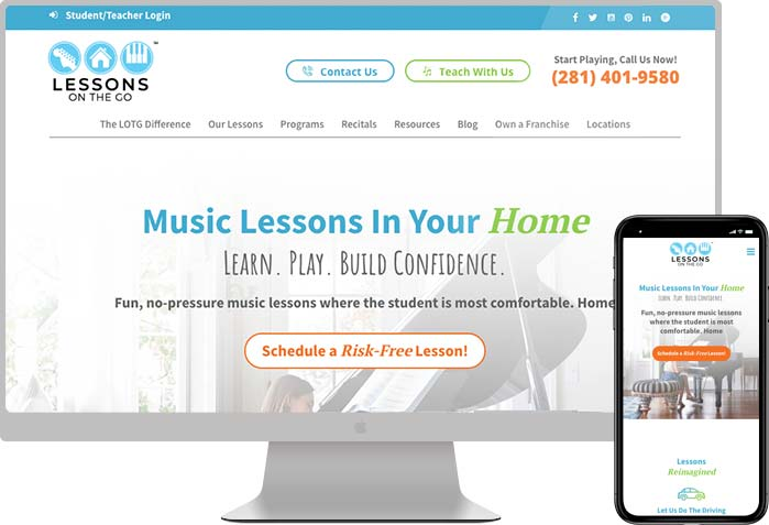 website design for music lessons company