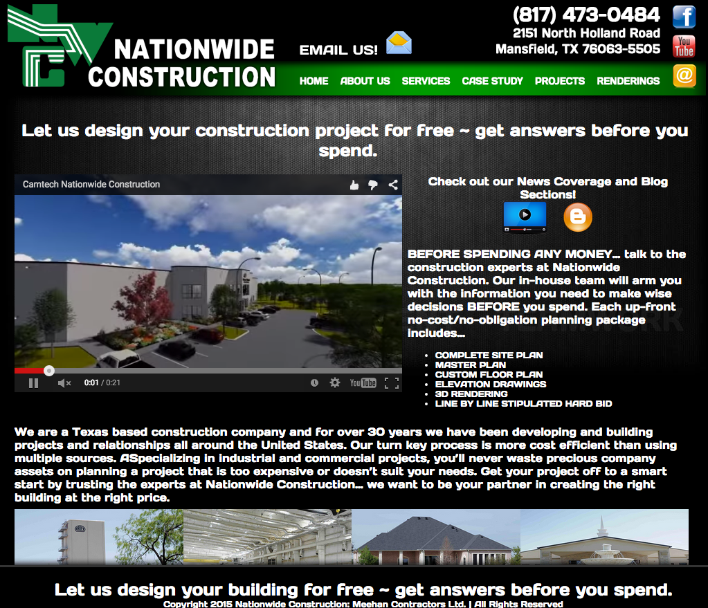 old website of Nationwide Construction