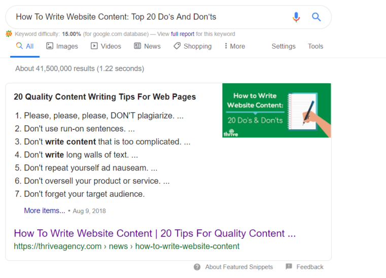 Thrive Google Featured Snippets