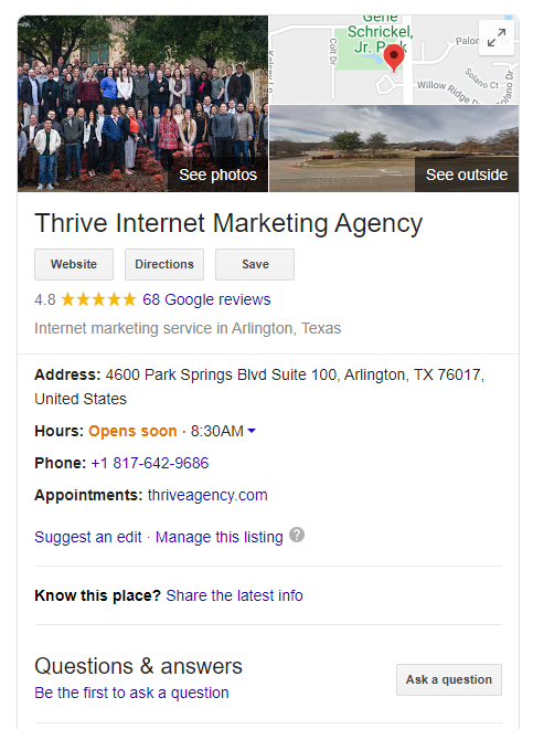 Thrive Google My Business Profile