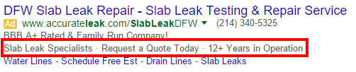 Google Ads Callout Extension Example