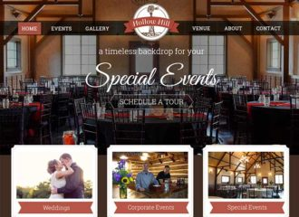 Wedding Venue Web Design for Hollow Hill Farm Event Center