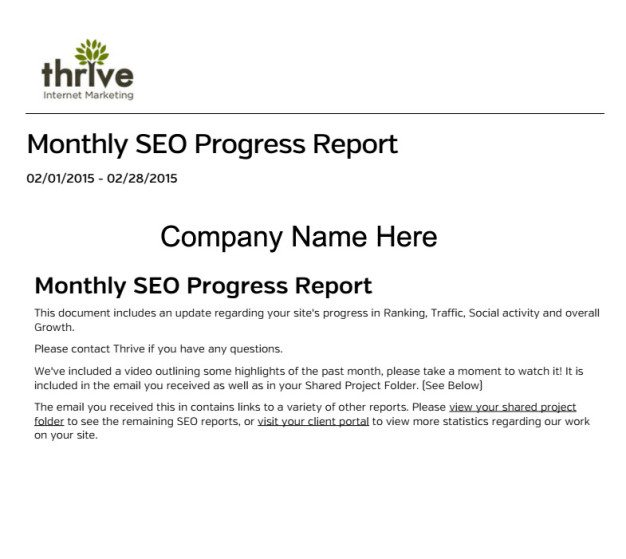 marketing progress report