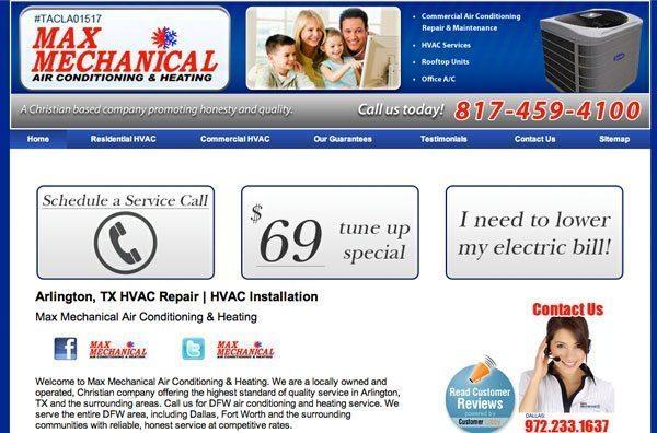 old website of Max Mechanical HVAC